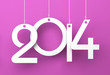 White tags with 2014 on purple background
