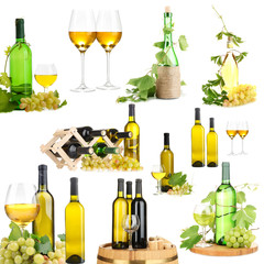 Collage of wine tasting isolated on white