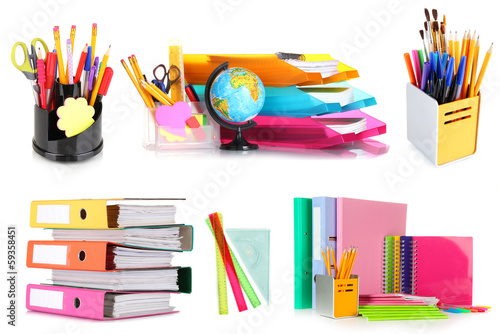 Collage of school and office supplies isolated on white