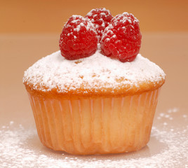 Cupcake with raspberries