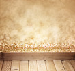 golden bokeh background and wood planks