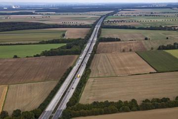 Landschaftsluftaufnahme Autobahn