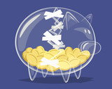 Repaired glass piggy bank. Vector illustration.