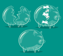Set of glass piggy banks. Vector illustration.