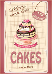 banner with  cake on the vintage