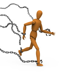 Puppet conquer chains binding by breaking and running to freedom