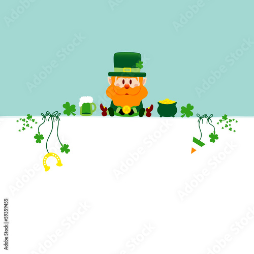 Background Leprechaun & Symbols Retro