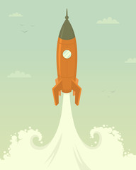 Launch of space rocket. Vector illustration. © laralova