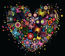Heart of flowers and butterflies on a black background