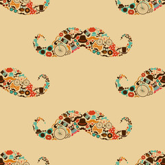 Hipster Mustache Colorful Seamless Pattern