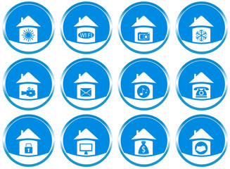 set icons with modern technology objects for web site design