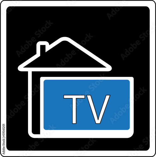 icon with home and wide screen tv