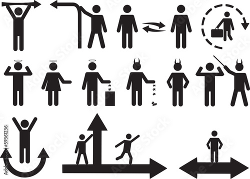Set of active good and bad human pictograms