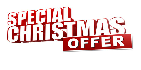 special christmas offer in 3d red letters and block