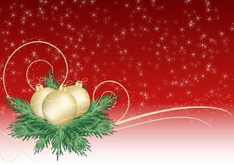 sfondo natalizio rosso stellato e palline dorate