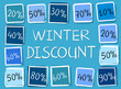 winter discount and percentages in squares - retro blue label