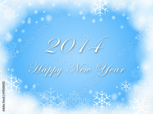 Happy New Year 2014 and snowflakes in blue