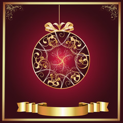 Artistic-Burgandy & Gold Ornament