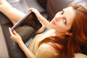 Girl with a Tablet PC.