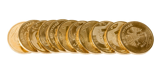 Stack of Russian coins isolated on white background