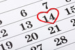 February 14 on the calendar, Valentine's Day red heart encircled