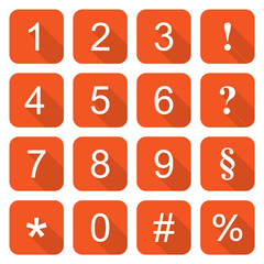 Set of orange rounded flat icons – Numbers