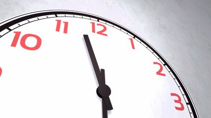 Closeup animation of a wall clock with numbers