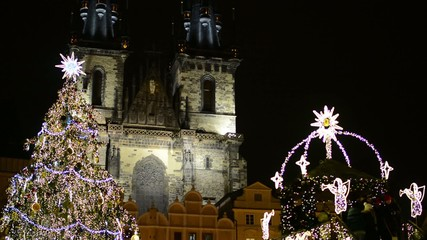 PRAGUE, CZECH REPUBLIC: Christmas Tree - on Old Town Square
