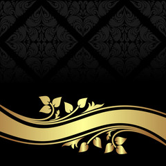 Charcoal ornamental Background with golden floral border.