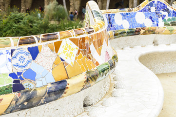 Famous bench in Park Guell, Barcelona