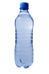 Plastic water bottle. Isolated on white.