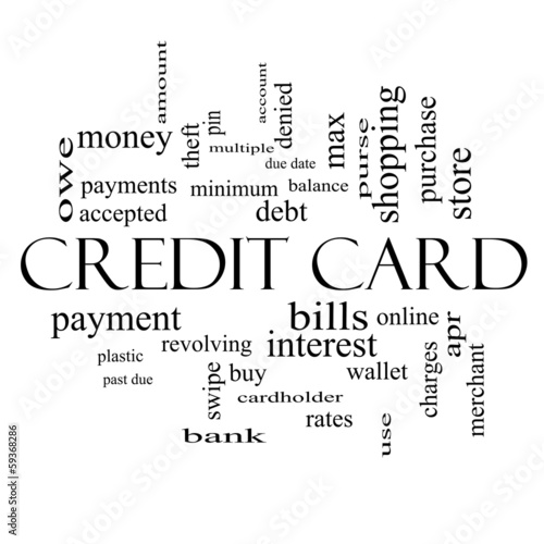 Leinwandbild Motiv Credit Card Word Cloud Concept in black and white