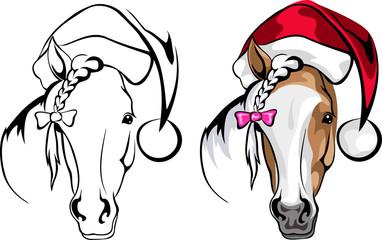 Horse in cap Santa Claus