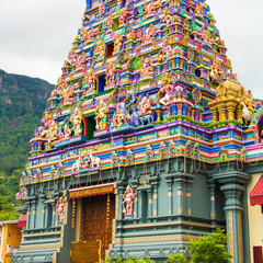 Colorful facade of a Hindu temple in Victoria at Seychelles