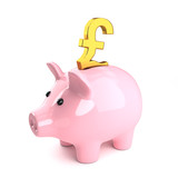 Pink piggy bank with gold UK Pound symbol