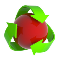 Recycle symbol over red sphere
