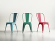 Isolated metallic classic cafe or dining chairs