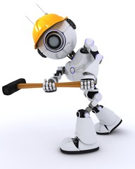 Robot builder with a sledgehammer