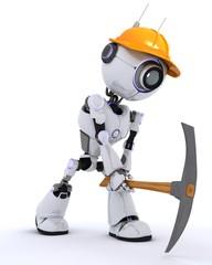 Robot builder with a pickaxe