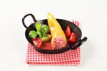 Meat stuffed yellow pepper