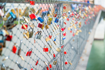 Padlocks on bridge in Salzburg, Austria