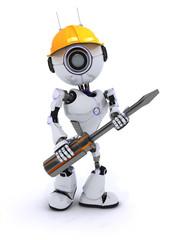 Robot builder with a screwdriver