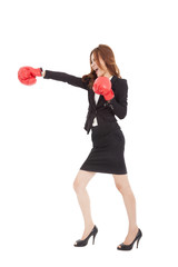 Business woman boxing and competition concept