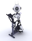 Robot at the gym on an exercise bike