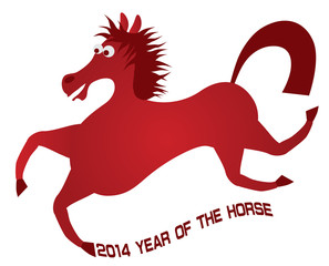 2014 Abstract Red Chinese Horse Vector Illustration