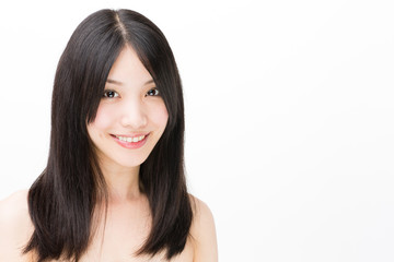 attractive asian woman beauty image on white background