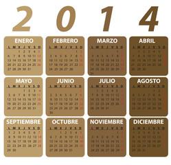 Spanish Calendar for 2014, classic style. vector