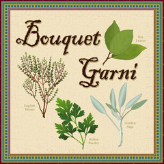 Bouquet Garni, Bay Leaf, Thyme, Sage, Italian Flat Leaf Parsley