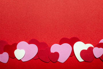 Red and pink Valentines day hearts background