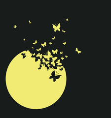 Moon and butterflies